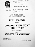 Programme for the concert in London